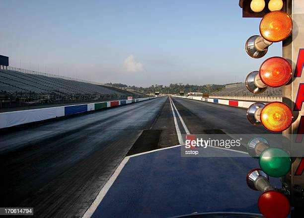 A wet and empty drag racing track