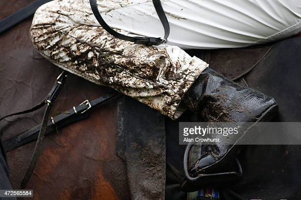 A wet and muddy day fro the jockeys at Chester racecourse on May 08 2015 in Chester England