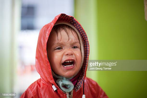 Wet child screaming