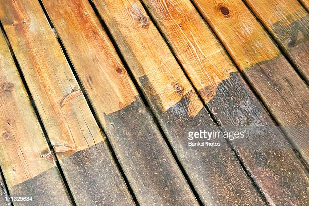Wet Cleaned and Weathered Deck