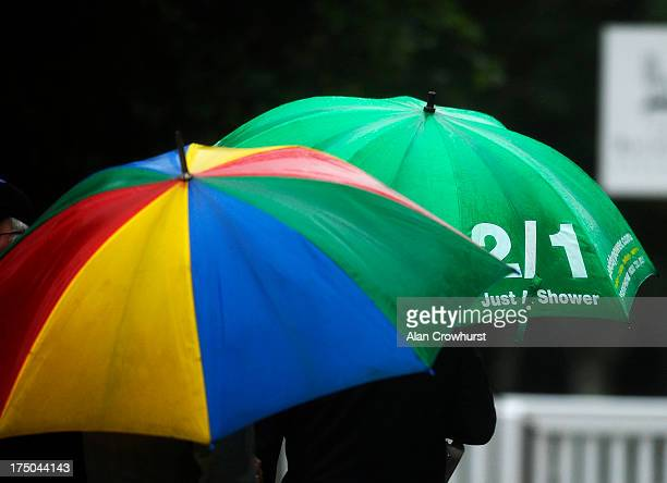 A wet day at Goodwood racecourse on July 30 2013 in Chichester England