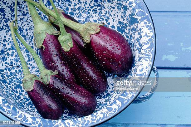 wet eggplants in a blue bowl - eggplant stock pictures, royalty-free photos & images