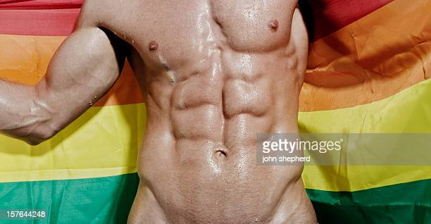 wet exposed muscular torso holding gay flag - male torso stock photos and pictures