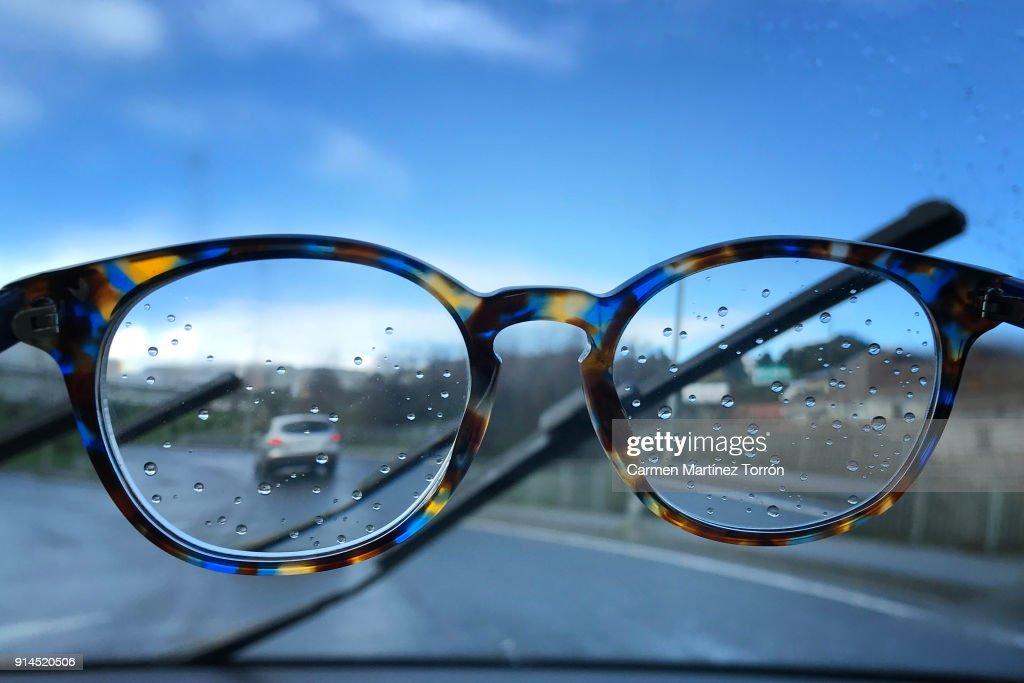 Wet Eye Glasses In The Rain : Stock Photo