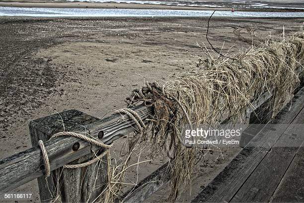 Wet Hay On Wooden Railing Of Jetty
