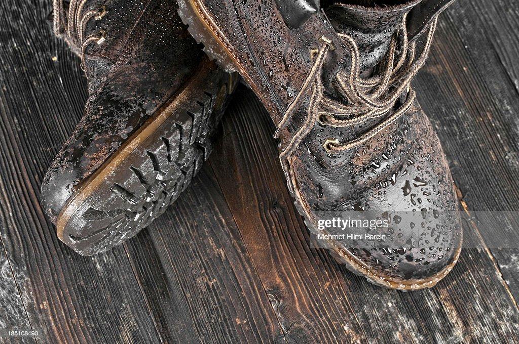 Wet hiking boot : Stock Photo