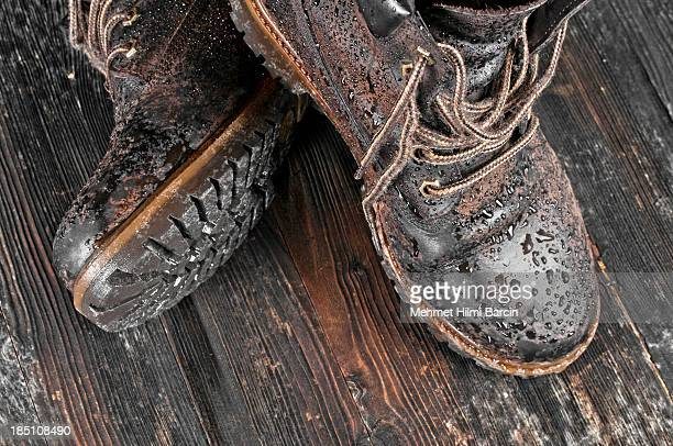 wet hiking boot - brown shoe stock pictures, royalty-free photos & images