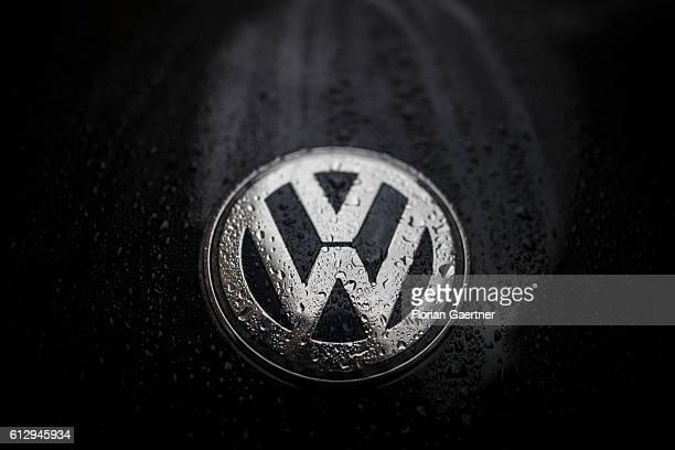 A wet logo of Volkswagen is captured on October 06 2016 in Berlin Germany