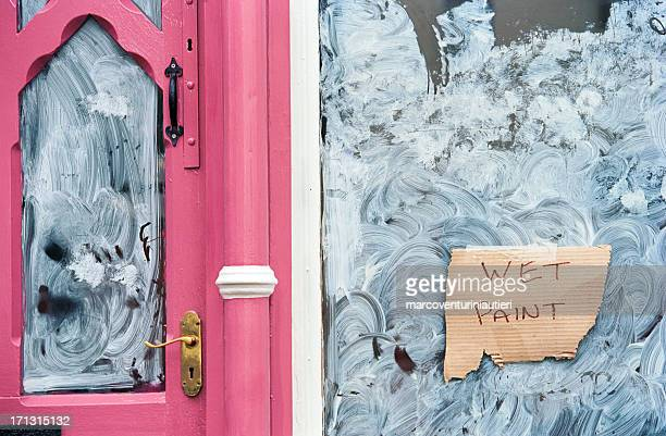 wet paint - shop front refurbishing - marcoventuriniautieri stock pictures, royalty-free photos & images
