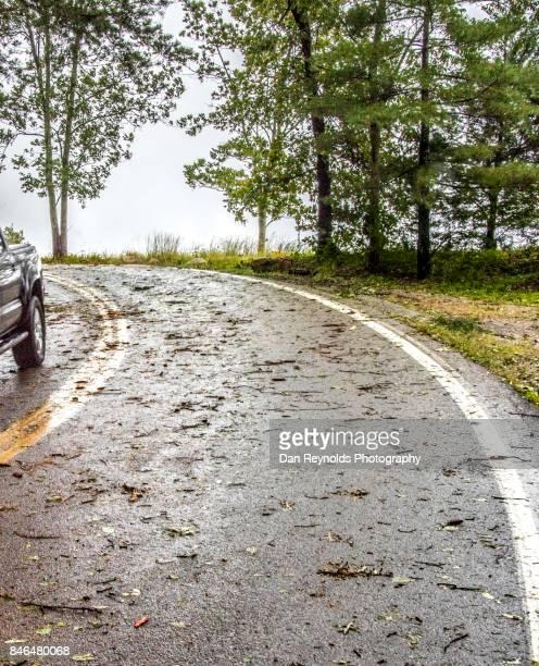 Wet Road after storm with debris