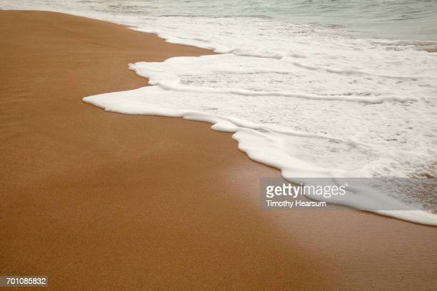 wet sandy beach at water's edge - timothy hearsum stock photos and pictures