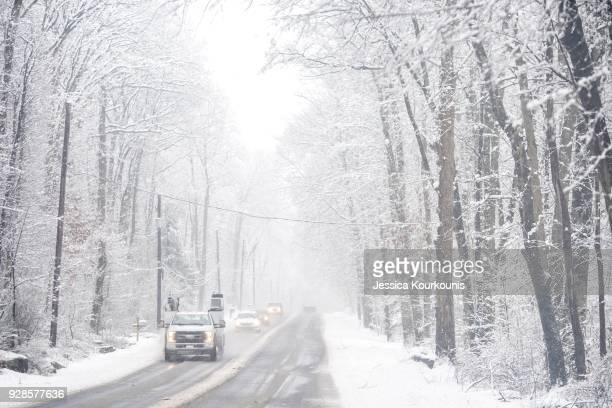 Wet snow continues to fall on March 7 2018 in Perkasie Pennsylvania This is the second nor'easter to hit the Northeast within a week and is expected...