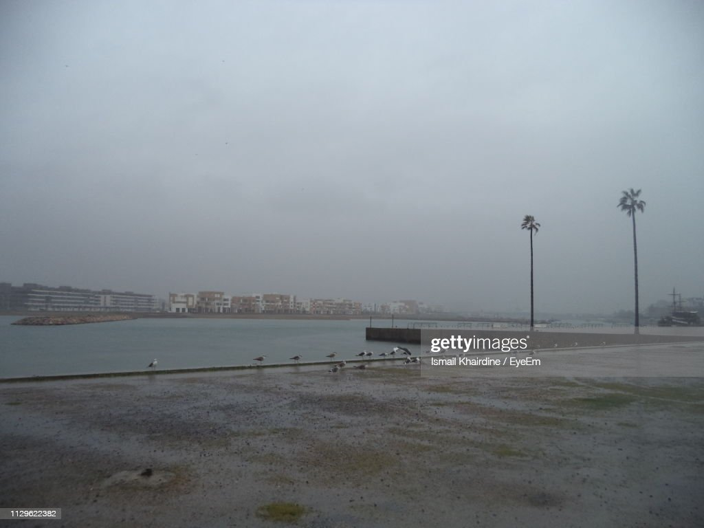 Wet Street By Sea Against Sky In City : Stock Photo