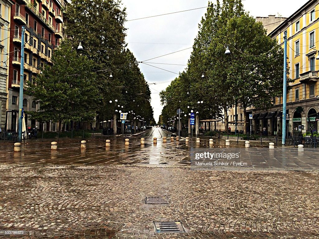 Wet Street With Bollards In City : Foto stock