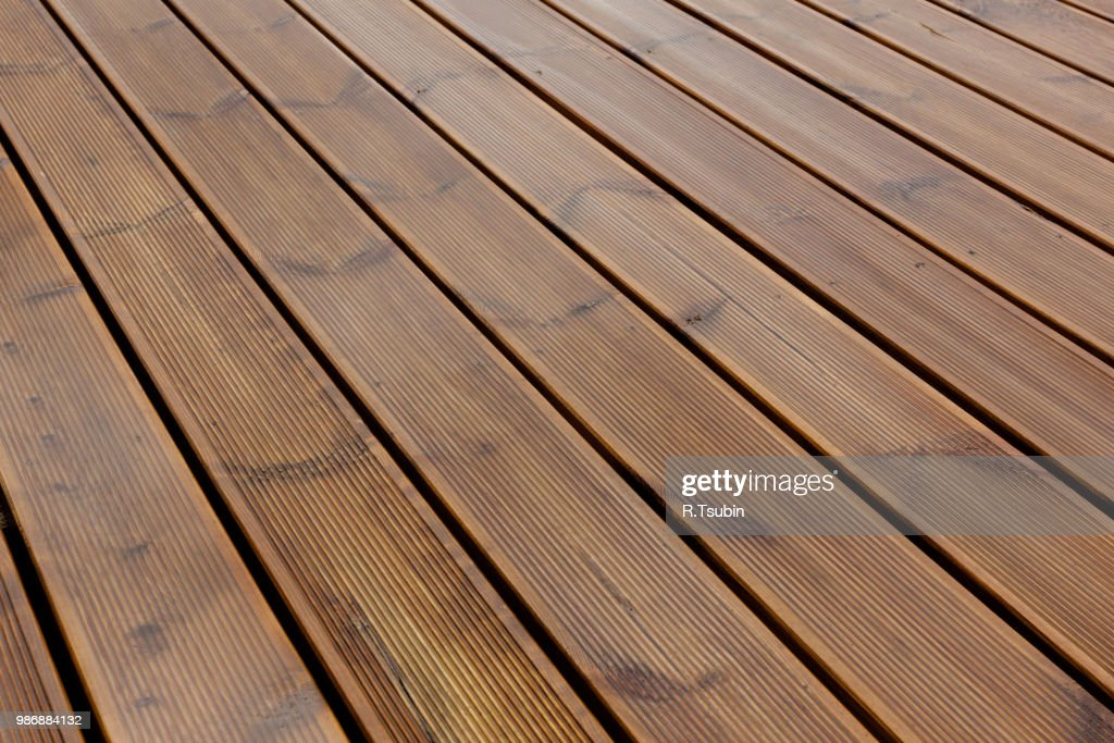 Wet Terrace Brown Wood Floor Background Stock Photo Getty Images