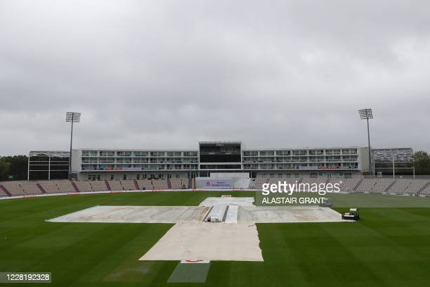 Wet weather delays play on the fifth day of the third Test cricket match between England and Pakistan at the Ageas Bowl in Southampton, southern...