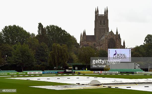 Wet weather delays the start of the 3rd Royal London ODI of the Women's Ashes Series between England and Australia Women at New Road on July 26 2015...