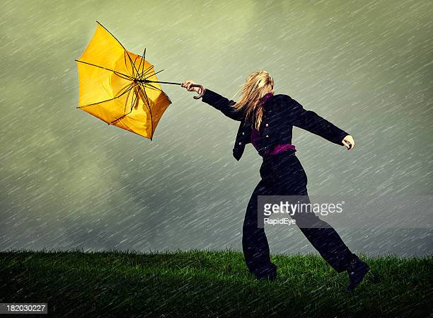 wet, windy, winter weather blows woman and umbrella away - gale stock photos and pictures