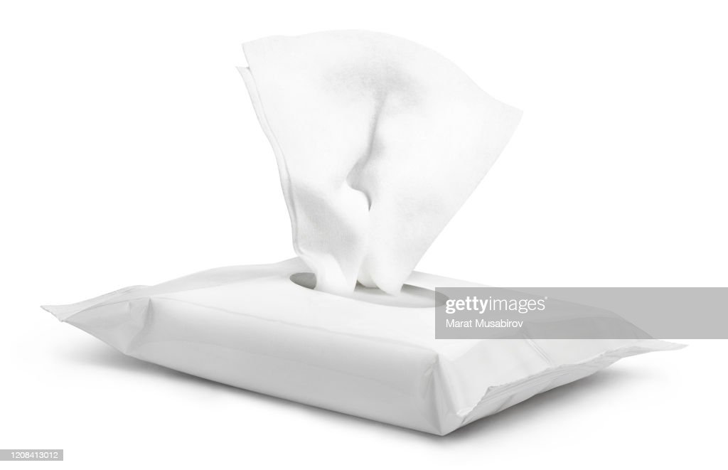 Wet wipes flow pack on white : Stock Photo