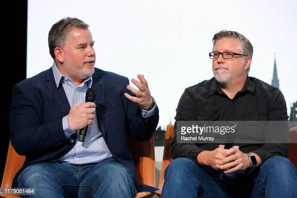 Weta Digital VFX supervisor Guy Williams and VFX supervisor Bill Westenhofer attend the Global Press Conference in support of GEMINI MAN at the...