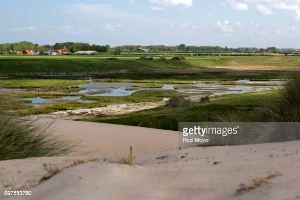 Wetland and village Burgh-Haamstede shot from dunes.
