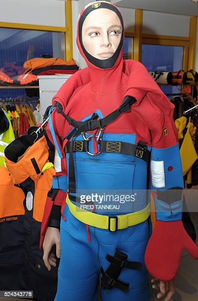 A wetsuit on a dummy is displayed on April 21 2016 in the Guy Cotten factory in Concarneau western France Breton company Guy Cotten specialising in...