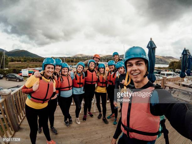 wetsuit selfie - lake district stockfoto's en -beelden