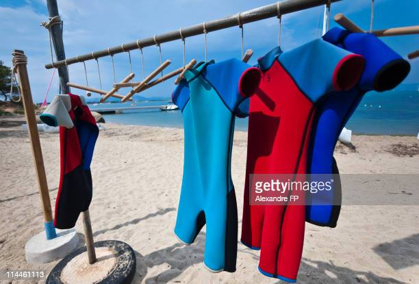 Wetsuits Clothesline at beach