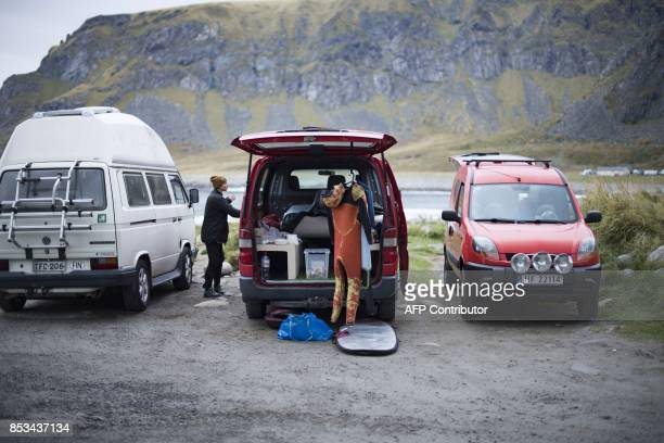 Wetsuits dry up between sessions during the Lofoten Masters 2017 the world's most northerly surf competition in Unstad's bay in the arctic circle on...