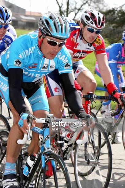 German Erik Zabel rides in the 68th version of the GhentWevelgem cycling race 05 April 2006 Norweigian Thor Hushovd won ahead of German David Kopp...