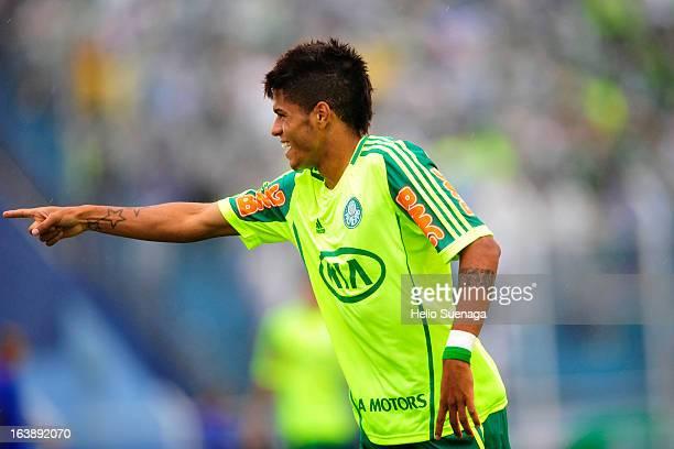 Weverson Leandro Oliveira Moura of Palmeiras celebrates a goal against Sao Caetano during a match between Sao Caetano and Palmeiras as part of...