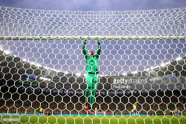 Weverton of Brazil during the Men's Football Final between Brazil and Germany at the Maracana Stadium on Day 15 of the Rio 2016 Olympic Games on...