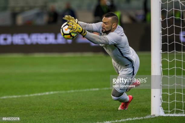 Weverton Silva of the Brazilian National Football Team stops an attempt at goal during the International Friendly Match Between Brazilian National...