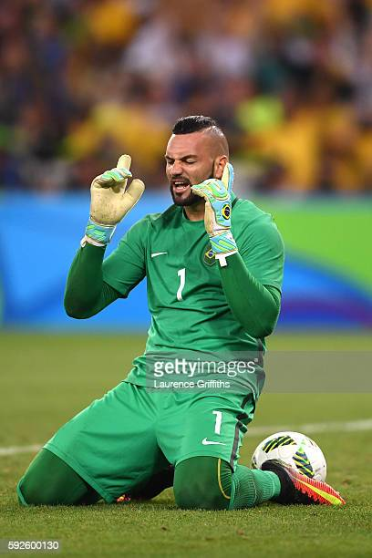 Weverton the Brazil goalkeeper celebrates as Brazil win the penalty shoot out in the Men's Football Final between Brazil and Germany at the Maracana...