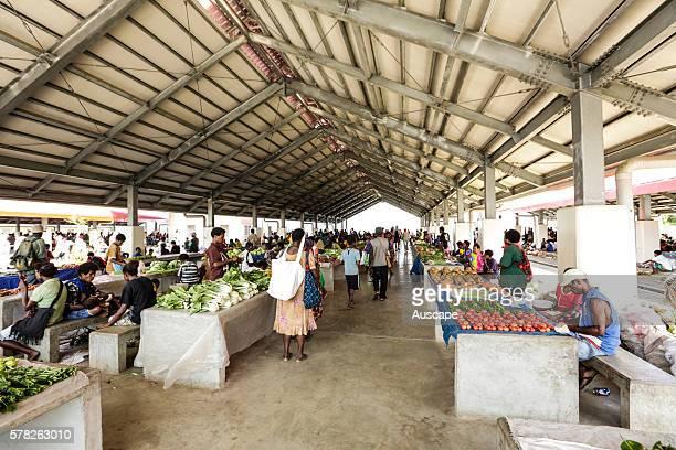 Wewak food market under cover Wewak Sepik River East Sepik Province Papua New Guinea