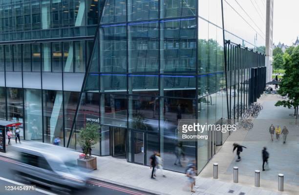 WeWork co-working office space in the Waterloo district in London, U.K. On Monday, Aug. 2, 2021. A survey this month showed that just 17% of Londons...