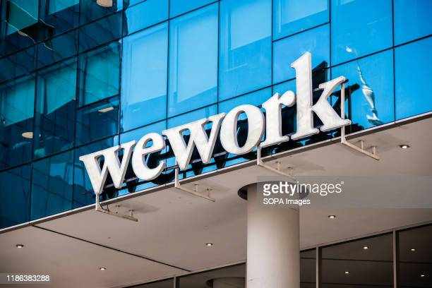WeWork logo seen in Buenos Aires. An American commercial real estate company that provides shared work spaces.