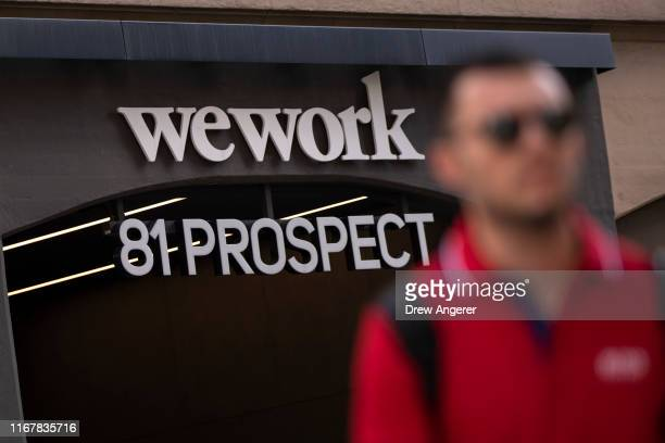 WeWork office facility stands in the DUMBO neighborhood in the Brooklyn borough of New York City on September 13, 2019. WeWork has chosen to list...