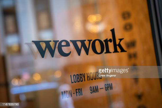 WeWork office facility stands in the Financial District in New York City on September 13, 2019. WeWork has chosen to list their IPO on the Nasdaq...