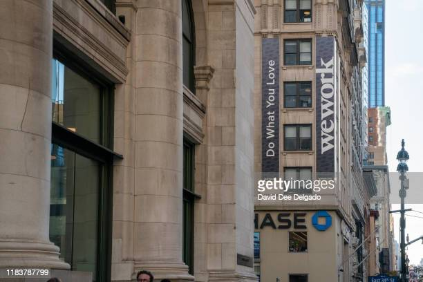 WeWork offices located at 349 5th Ave on November 21, 2019 in New York City. WeWork has laid off 2,400 employees as it works to cut costs in its...