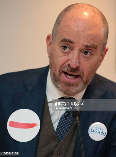 WeWorld Onlus President Marco Chiesara delivers a speach during the Lega Serie A 'Un Rosso Alla Violenza' press conference on November 20 2018 in...