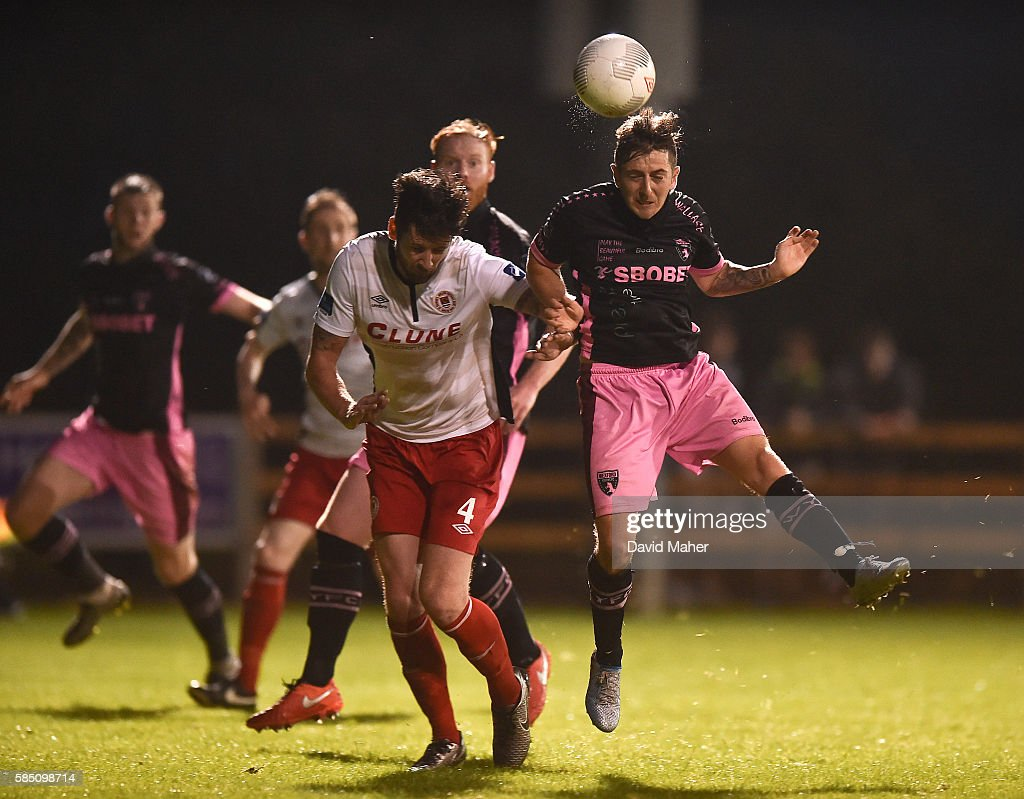 Wexford , Ireland - 1 August 2016; Andy Mulligan of Wexford Youths in action against Darren Dennehy of St. Patrick's Athletic during the SSE Airtricity League Premier Division match between Wexford Youths and St. Patrick's Athletic at Ferrycarrig Park in Wexford.