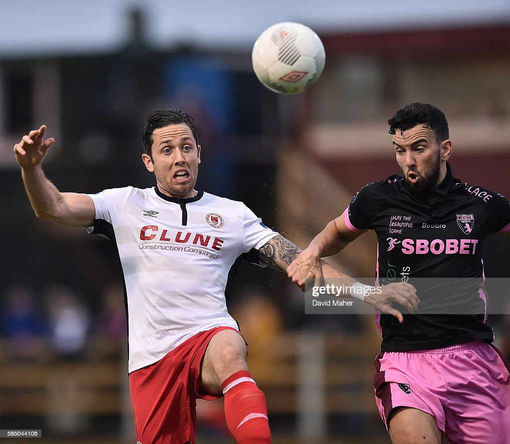 Wexford , Ireland - 1 August 2016; Billy Dennehy of St. Patrick's Athletic in action against Shane Dunne of Wexford Youths during the SSE Airtricity League Premier Division match between Wexford Youths and St. Patrick's Athletic at Ferrycarrig Park in Wexford.