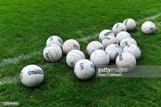 Wexford , Ireland - 1 November 2020; A general view of Wexford footballs on the sideline before the Leinster GAA Football Senior Championship Round 1...