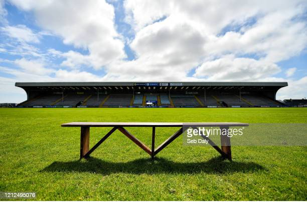 Wexford , Ireland - 10 May 2020; An empty bench, usually reserved for team photographs, sits in the middle of Chadwicks Wexford Park on the afternoon...