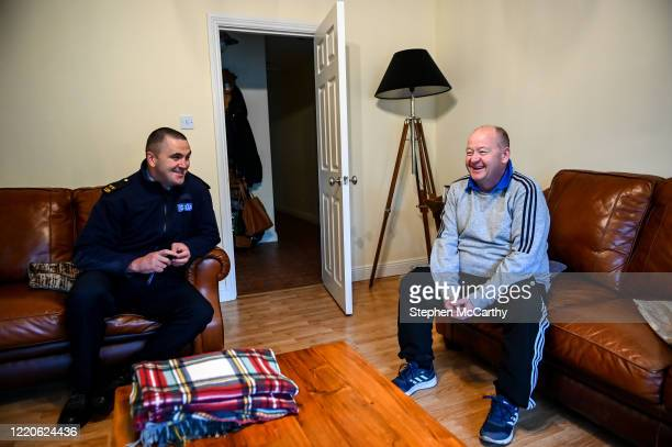 Wexford Ireland 17 June 2020 Professional boxer and member of An Garda Síochána Niall Kennedy during a visit to Cllr Gail Dunne while on duty out of...