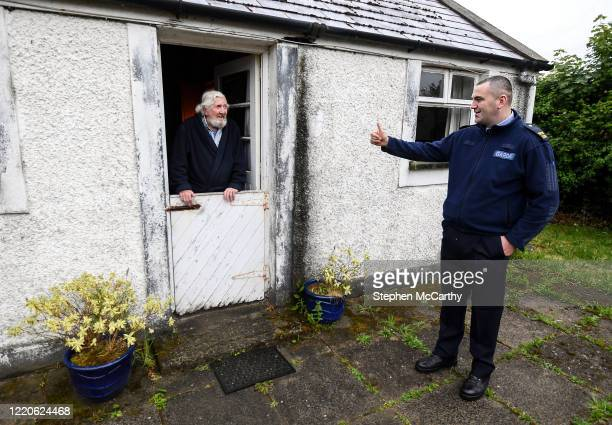 Wexford Ireland 17 June 2020 Professional boxer and member of An Garda Síochána Niall Kennedy on a routine visit to Charles Eden while on duty out of...
