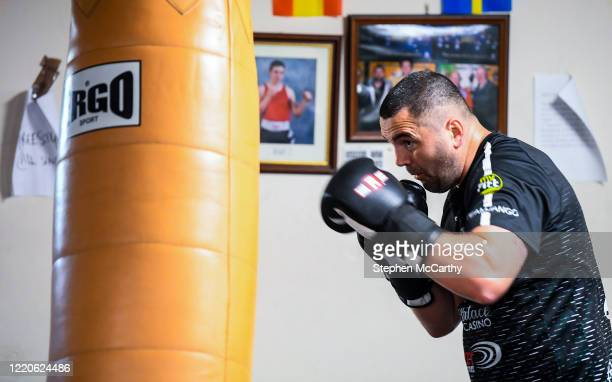 Wexford Ireland 17 June 2020 Professional boxer Niall Kennedy during a training session at the Gorey Boxing Club in Wexford