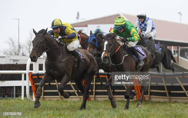 Wexford , Ireland - 17 March 2020; Forrard Away, left, with Mark Bolger up, races alongside My Club Colours, with Sean O'Keeffe up, on their way to...