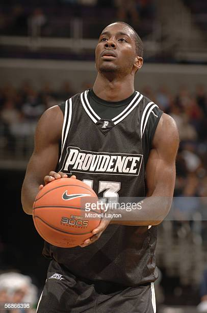 Weyinmi Efejuku of the Providence Friars takes a foul shot during the game against the Georgetown Hoyas on January 5 2006 at MCI Center in Washington...